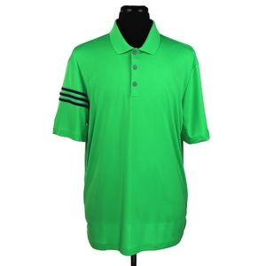 New Adidas 3-Stripe Club Polo Shirt Green Size XL